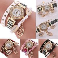 Fashion Womens Ladies Watch Leather Bracelet Analog Quartz Dress Wrist Watch UK