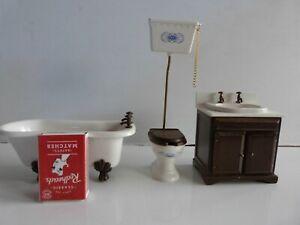 Doll's House Bathroom Set Bath, Sink & Toilet.