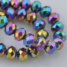 50pc Bulk Rondelle 6mm Faceted Charm Crystal Glass Loose Spacer Beads DIY Crafts