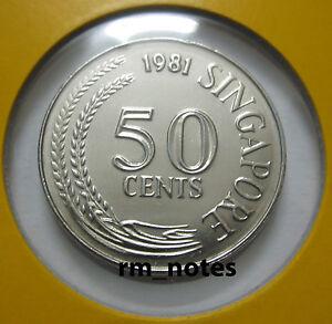 "SINGAPORE  50cents coin 1981 Lionfish ""BU"""