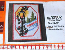 "1979 Bucilla Christmas ""Winter Glow"" Holly Latch Hook Rug Canvas 24x36"""