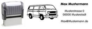 VW Bus T3 b - Bus - Motiv-Automatik-Stempel - mit Wunschtext