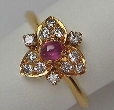 Fine ♛ Brillant Ring in aus 750 18kt Gold mit Brillanten Ruby Rubin Rubine 1933