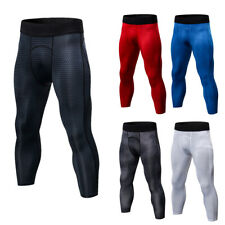 Mens Compression Workout 3/4 Calf Tights Gym Capri Cropped Spandex Pants