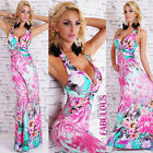 Sexy Padded Halter Floral Print A-Line Maxi Dress Evening SIZE 6 8 10 XS S M