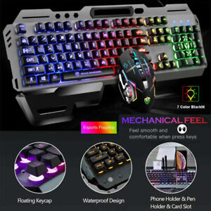 Computer Gaming Keyboard RGB LED Mouse Backlit Mechanical Feeling For PS4PC GK70