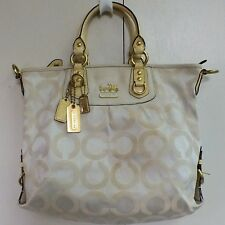 Coach Madison Julianne Bag 12963 Cream & Gold Op Art Satchel Convertible Purse