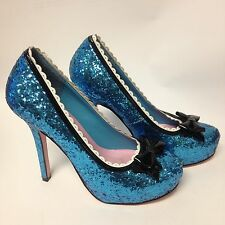 Womens Blue Glitter Costume Leg Avenue Heels 7 Halloween Pumps Fairy Princess