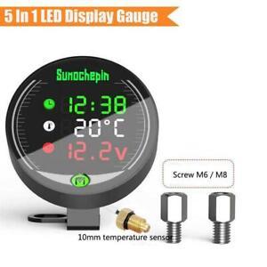 Motorcycle LED Digital Display Voltmeter Voltage Water Temp Gauge with Bracket