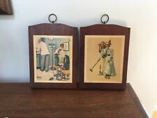 """Norman Rockwell Vintage Wooden Plaques ~ """"Croquet"""" and """"At the Doctors"""""""