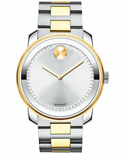New Movado Bold Large 42 mm Unisex Two Tone Steel Bracelet Watch 3600431