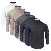 New Mens Plain Shirt Brave Soul 'Tudor' Long Sleeved Casual Shirt New S M L XL