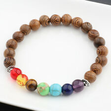 1 Piece 8MM Colorful Wooden Beaded Fashion Men's Charm Bracelets Jewelry Bangle