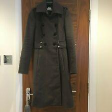 Karen Millen Grey Wool Military Long Coat Winter Jacket Size 8 UK