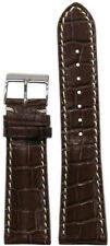 24mm Panatime Brown Leather Watch Band w Gator Print & White Stitch For Breitlin