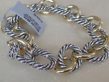 $1500 DAVID YURMAN 18K GOLD, SS LARGE OVAL LINK BRACELET