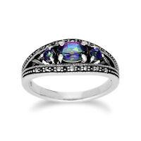 Gemondo Sterling Silver Triple Mystic Green Topaz & Marcasite Ring