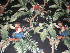 "P Kaufmann Drapery Upholstery fabric BTY Monkeys dressed and in trees NEW 54"" W"