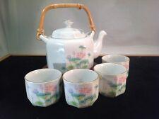 Vintage Japanese Lotus Garden Tea Pot Set by Otagiri Basket Handle