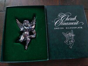 Oneida Silver Plate Cherub Christmas Ornament 1991 IOB Vintage Angel