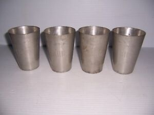 """Vintage The Banka Tin of Indonesia Set of 4 Cups Engraved """"RHC"""""""
