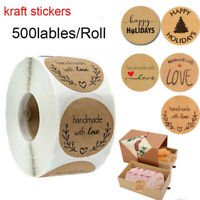 500Pcs Kraft Paper Sticker Merry Christmas Seal Sticker DIY Paper Label Stickers
