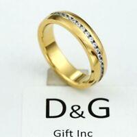 DG Unisex Gold.Stainless Steel,Eternity CZ Wedding Ring-6,7 8,9 10 11,12,13**BOX