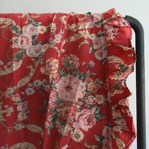 Ralph Lauren MARSEILLES King Flat Sheet w. Ruffled Edge | Red Floral