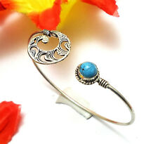 Turquoise Gemstone Adjustable Cuff Bracelet Bangle 925 Silver Overlay U184-A32