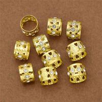 10pcs Crystal Gold Hair Beads Braids Dreadlocks Hair Pins Hair Rings Hair Clips