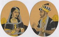INDIAN Art Mughal King & Queen Miniature Original Water Color Paper Painting