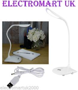 LED DESK READING WORK LIGHT TOUCH SENSOR 3 BRIGHTNESS SETTINGS USB OR BATTERY