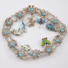 """Vtg Sterling Silver Blue Enamel Flower Butterfly Filigree Charm Bracelet 7.25"""""""