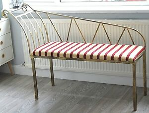 Sitting Bench Linen Padded Metal Wrought Iron Bench Stool Antique Finish Indoor
