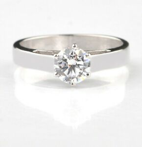 D/VVS1 1.20 Carat Round Shape Solitaire Women's Ring In 14KT Finest White Gold