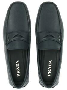 NEW PRADA MILANO BLUE SAFFIANO LEATHER MOCCASINS LOAFERS SHOES 10/US 11