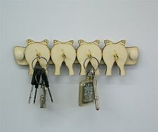 Four Pigs 4 Hook Wooden Key Holder Wall Mounted,Great House Warming Gift