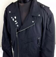 Thrill Ride Motorcycle Jacket Full Zip Riders Coat Men XL Black Pockets Pins EUC