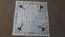 Super Cute Square Applique Rabbits Tablecloth Embroidered Vintage 4 Napkins