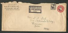 BRUSH,MORGAN CO COLORADO VINTAGE REGISTERED ENVELOPE APR 16,1925