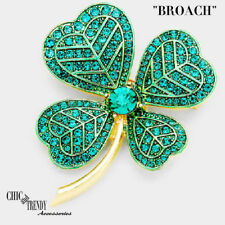 Crystal Chunky Pin Broach Trendy Jewelry St Patrick'S Day Green Four Leaf Clover