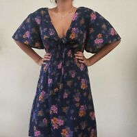 Vintage Purple Floral Boho Maxi Dress 70s 90s Autumn Prairie Smocked