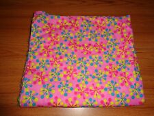 1 Yard of Flannel Print Pink With Green, Dark Pink, and Yellow