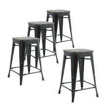 Set of Four Black Wooden Seat 24 Inches Counter High  Bar Stools, Indoor/Outdoor