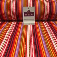 "Multicoloured Vertical Striped cotton printed Fabric 44"" Wide M810 Mtex"