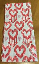 Pottery Barn Valentine Heart Ikat Kitchen Towel Red Pink Ivory Linen Blend NWT