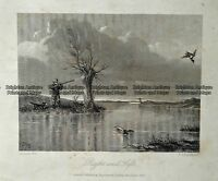 Antique Print 232-504 Hunting ducks by Engleheart c.1872 Hunting