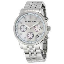 MICHAEL KORS MK5020 RITZ Chronograph White Pearl Dial Silver Tone Women's Watch