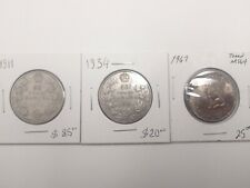 Canada 50 cents silver coins 1911, 1934 and 1967 toned MS64