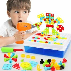Boy Electric Drill Toys Assembled Match Educational Building Simulation Tool